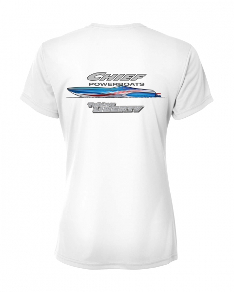 Chief Powerboats - Chief Powerboats Ladies 43 Punisher Short Sleeve Performance Graphic T-Shirt
