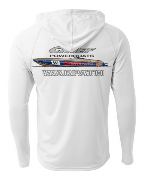 Chief Powerboats - Chief Powerboats Warpath Long Sleeve Performance Cooling Hooded Tee Graphic Shirt