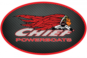 Merch - Decals - Chief Powerboats - Chief Powerboats Carbon Fiber Oval Logo Sticker