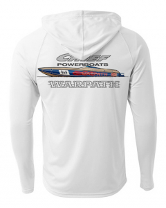 Merch - Chief Powerboats - Chief Powerboats Warpath Long Sleeve Performance Cooling Hooded Tee Graphic Shirt